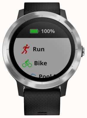 Garmin Vivoactive 3-godzinny multisport tracker z czarną gumową srebrną ramką 010-01769-00