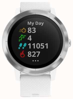 Garmin Vivoactive 3-godzinny multisport tracker z białą gumową srebrną ramką 010-01769-20