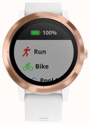 Garmin Vivoactive 3 godz. Multisportowy tracker z białej gumy w kolorze różowego złota 010-01769-05