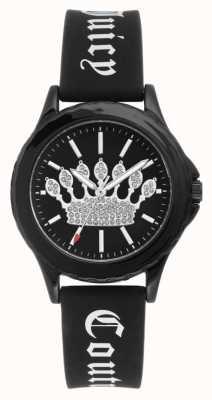 Juicy Couture Damski czarny silikonowy pasek zegarka czarna tarcza korona JC-1001BKBK