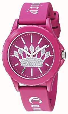 Juicy Couture Damski różowy pasek silikonowy zegarek różowa korona tarcza JC-1001HPHP