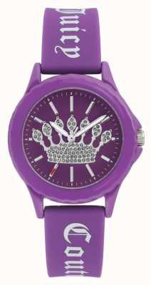 Juicy Couture Kobiet fioletowy pasek silikonowy zegarek fioletowy korona wybierania JC-1001PRPR