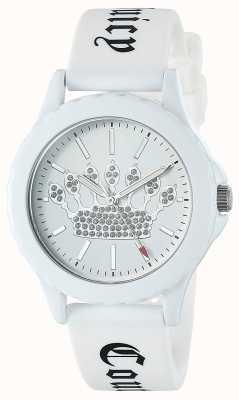 Juicy Couture Damski biały silikonowy pasek zegarka z białą koronką JC-1001WTWT