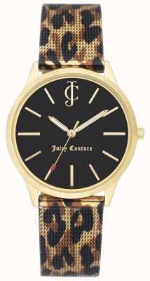 Juicy Couture Lampart damski skórzany pasek z czarnym zegarkiem JC-1014GPLE