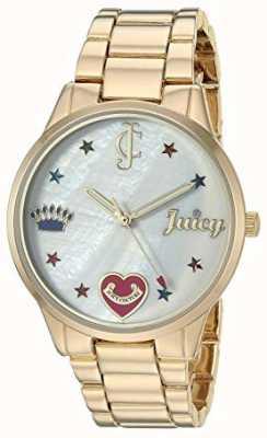 Juicy Couture Damski zegarek ze stali w odcieniu złota z kolorowymi markerami JC-1016MPGB