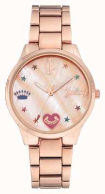 Juicy Couture Damski zegarek ze złotą różową bransoletą z kolorowymi markerami JC-1016RMRG
