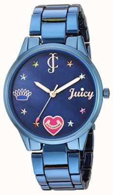 Juicy Couture Damska niebieska stalowa bransoletka | kolorowe znaczniki | niebieska tarcza JC-1017BMBL
