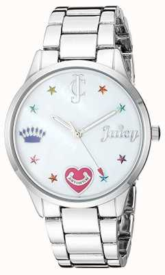 Juicy Couture Damski zegarek ze srebrnej stali z kolorowymi markerami JC-1017MPSV