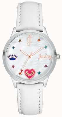 Juicy Couture Damski biały zegarek z silcone z kolorowymi markerami JC-1019WTWT