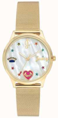 Juicy Couture Zegarek ze złotej siateczki dla kobiet z kolorowymi markerami JC-102WTGB