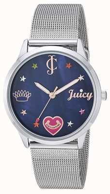 Juicy Couture Damska bransoletka z siatki srebrnej | kolorowe znaczniki | niebieska tarcza JC-1025BMSV