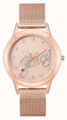Juicy Couture Damska bransoleta z różowego, złocistego tonu soczystego zegarka JC-1032RGRG