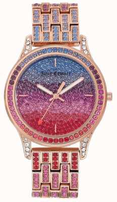 Juicy Couture Zegarek damski z bransoletką ze stali w kolorze różowego złota JC-1044MTRG