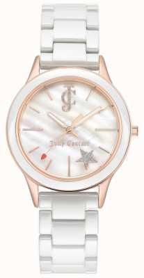 Juicy Couture Damska biała bransoletka biała tarcza różowe złoto tone case JC-1048WTRG