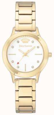Juicy Couture Damska bransoleta ze złota w kolorze złotym ze stali nierdzewnej, biała tarcza JC-1050WTGB