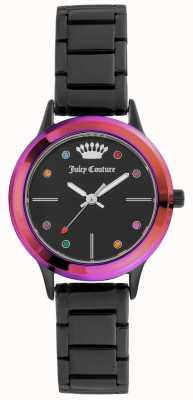 Juicy Couture Damska mała czarna bransoletka czarna tarcza z kolorową ramką JC-1051MTBK