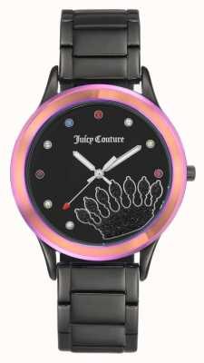 Juicy Couture Czarna bransoletka damska czarna tarcza z kolorową ramką JC-1053MTBK