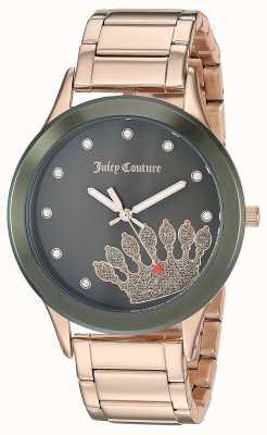 Juicy Couture Damska różowa ze stali nierdzewnej | czarna korona JC-1052OLRG