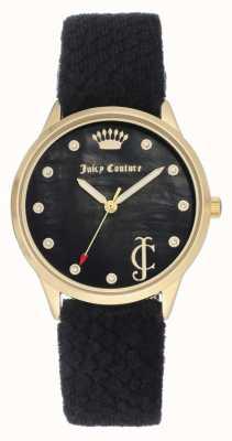 Juicy Couture Damska czarna tarcza | czarny, aksamitny pasek | futerał na złoto JC-1060BKBK