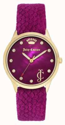 Juicy Couture Damska bordowa tarcza | bordowy aksamitny pasek | etui z złotym tonu JC-1060HPHP