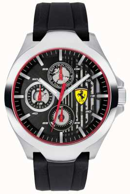 Scuderia Ferrari Męski czarny pasek chronograf czarny gumowy pasek 0830510