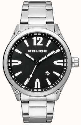 Police Męska elegancka bransoleta ze stali szlachetnej czarna tarcza 15244JBS/02M