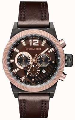 Police Brązowy skórzany pasek w stylu miejskim z brązową tarczą PL.15529JSBBN/12