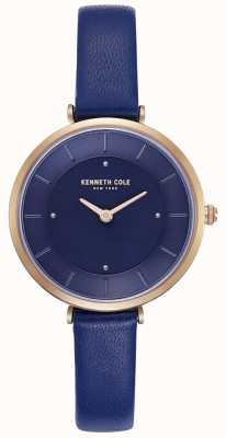 Kenneth Cole Niebieski skórzany pasek damski z niebieską tarczą KC50306005