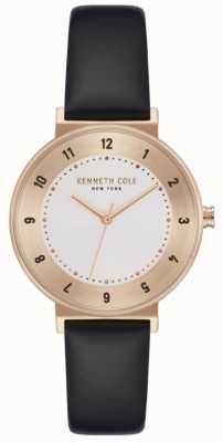 Kenneth Cole Damski czarny skórzany pasek z białym zegarem KC50075003
