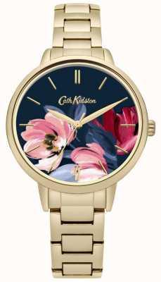 Cath Kidston Damska złota bransoletka z nadrukiem kwiatowym z nadrukowanym tarczą CKL050GM