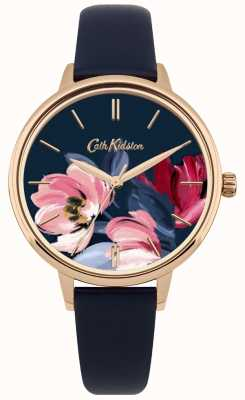 Cath Kidston Damski granatowy pasek zegarka z kwiatową tarczą CKL050URG