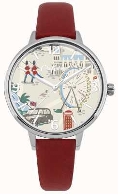 Cath Kidston Damski czerwony skórzany pasek na londyńskiej mapie z nadrukowanym zegarkiem CKL053R