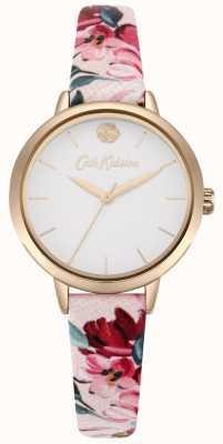Cath Kidston Damski różowy, kwiatowy nadrukowany pasek z białą tarczą CKL064PRG
