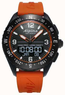 Alpina Alpinerx smartwatch pomarańczowy gumowy pasek AL-283LBO5AQ6