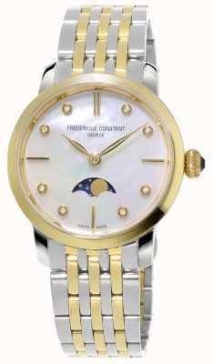 Frederique Constant Damska, smukła, księżycowa bransoletka kwarcowa z dwoma odcieniami FC-206MPWD1S3B