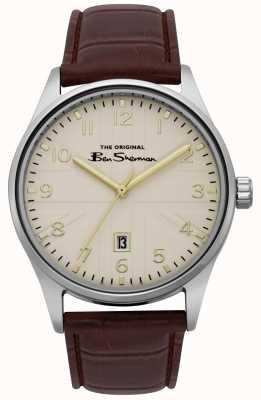 Ben Sherman Męski, matowy, biały tył srebrna, dwukolorowa bransoleta BS017BR