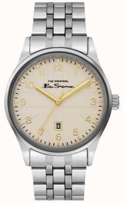 Ben Sherman Męska biała bransoleta ze srebrnego pokrowca ze stali nierdzewnej BS017GSM