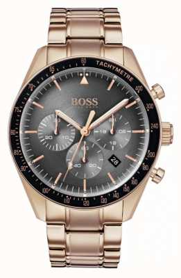 Boss Męski zegarek z trofeum szary chronograf tarcza różowe złoto 1513632