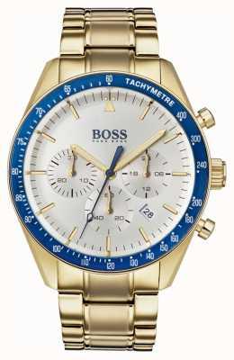 Boss Męski zegarek trofeum biały chronograf tarcza złoty ton 1513631