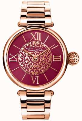 Thomas Sabo Damska karma różowa bransoletka ze złotym odcieniem czerwona tarcza zegarka Sunray WA0306-265-212