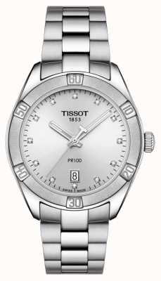 Tissot Damski datownik sportowy PR 100 z eleganckimi diamentami T1019101103600