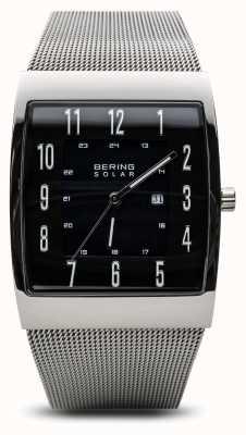 Bering Zegarek męski zegarek z srebrnej polerowanej srebrnej kwadratowej siatki 16433-002