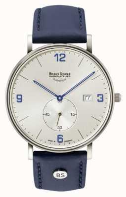 Bruno Sohnle Mens Frankfurt big srebrny dial niebieski skórzany pasek 17-13187-263