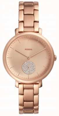Fossil Damska jaqueline różowe złoto bransoletka zegarek prosty wybierania ES4438