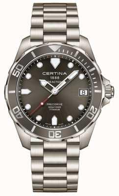 Certina Mens ds action precidrive szary tytanowy zegarek tarczowy C0324104408100