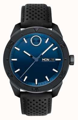 Movado Męski, odważny niebieski, czarny pasek z perforowanej skóry 3600495
