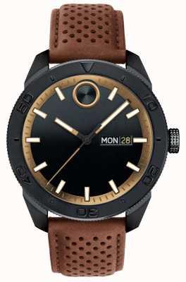 Movado Męski, odważny czarny pasek z perforowanej skóry w kolorze brązowym 3600496