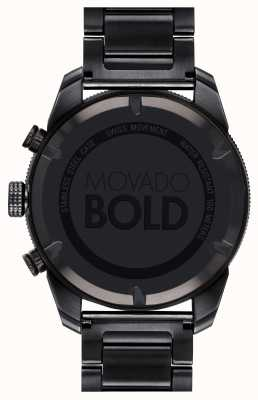 Movado Męski, czarny, chromowany zegarek z platyną 3600514