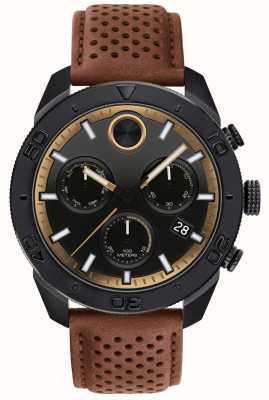 Movado Męski, odważny, chronograf z perforacją w brązowym skórzanym pasie 3600515