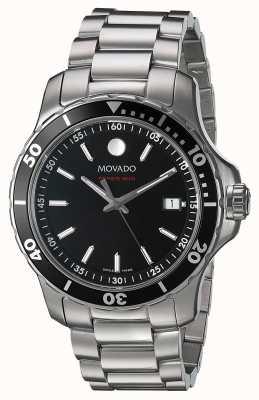 Movado Mens series 800 czarna tarcza ze stali nierdzewnej 2600135